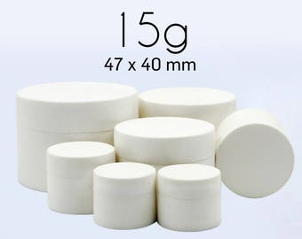 50 pcs (15g) Plastic Jar, Pot, Bottle with Lid & Disc Liner - Skincare Face Cream, Cosmetic, SPA Bath Packaging