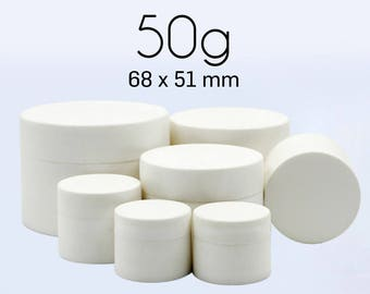 50 pcs (50g) Plastic Jar, Pot, Bottle with Lid & Disc Liner - Skincare Face Cream, Cosmetic, SPA Bath Packaging