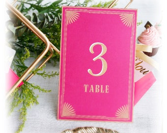 Table Numbers Cards - Pink & Gold Place Cards - Wedding, Party Banquets Table Decors