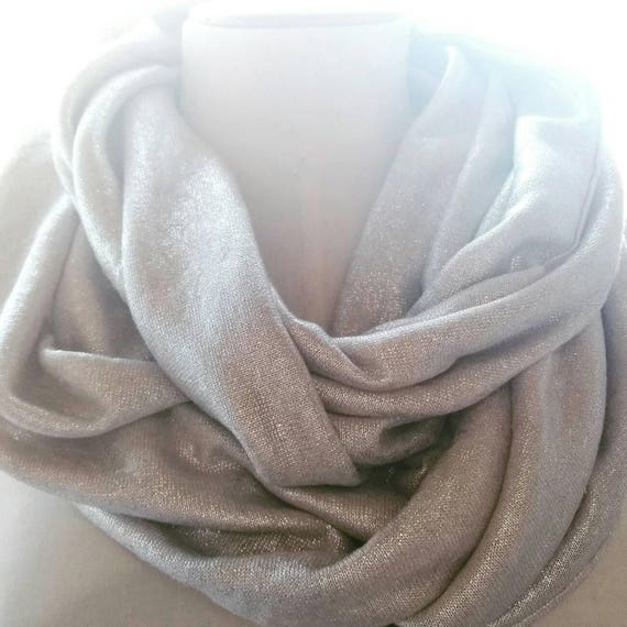 Silver linen snood scarf. Brilliant woman Snood. Infinity scarf, neck, tubular scarf. Mesh silver linen. Golden Snood. Gold