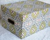 Tri-Coastal Paper Box, Green and gray, cardboard box, office organizer