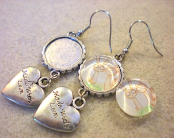 Kit EARRINGS * heart cat and rabbit * silver plated