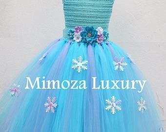 SALE Frozen Elsa Princess Flower girl dress, turquoise tutu dress, sky blue bridesmaid dress, Elsa Frozen princess dress, crochet top tulle