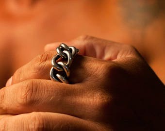 Men's Jewelry, Heavy metal ring, Chunky chain ring, Bikers ring, 925 man ring, Men's silver ring, Big men's ring, Rockers ring