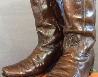 Vintage 70's Hippie Boots Vintage Motorcycle Boots Rocker Boots 10 EW