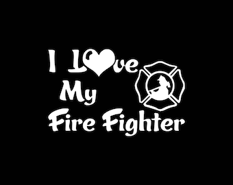 Firefighter Decal, I Love My Firefighter Decal,Firefighter Wife Car Decal First Responder Decal,Firemen Fireman Car Decal Mom Decal Wife
