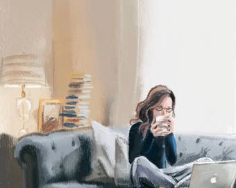 "Art print ""Susan Sonntag with Apple laptop"" by painting by Antonia Sanker"