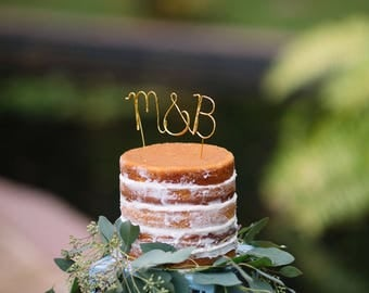 Gold initials wedding cake topper, Cursive custom gold cake topper, Customised topper, Rustic chic wedding, Calligraphy topper, Handwriting