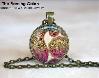 BOHO PAISLEY Pendant •  Boho Paisley • Purple Paisley • Bohemian Style • Paisley Jewellery • Gift Under 20 • Made in Australia (P1343)