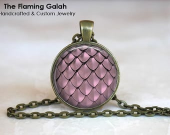 MERMAID SCALES Pendant •  Pink Mermaid Scales •  Mermaid Tail •  Dragon Scales •  Fish Scales • Gift Under 20 • Made in Australia (P1372)