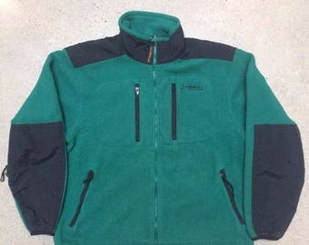 Vintage LL Bean Fleece All Conditions forest green mens large full zip