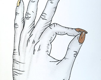 OK Gold Hand // Drawing // Gold Leaf // Fine Art Print // Framed // Ready to Hang