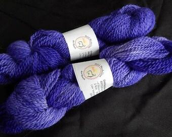 Suri Alpaca / Merino Yarn, 80/20, 2 Ply DK, Hyacinth, Purple,  Hand Dyed Color, 200 Yard Skein