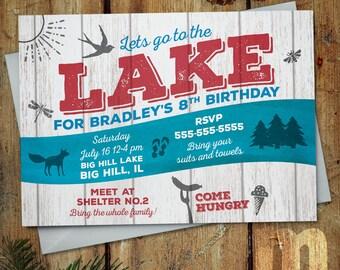 Lake Party Kids Birthday Invitation, Digital Printable Invitation, Company Picnic Event, Wedding Invite, Family Reunion, Church Gathering