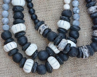 Neutral Grey and Black Statement Necklace | African Glass Trade Beads | BOHO Necklace