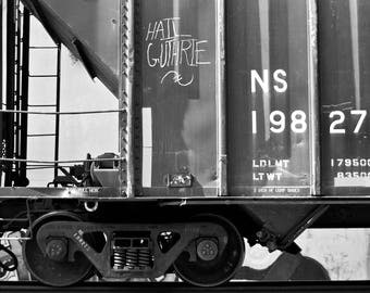 Hail Guthrie 1: Train are, graffiti. Frame not included. Individually photographed and printed by Frank Heflin