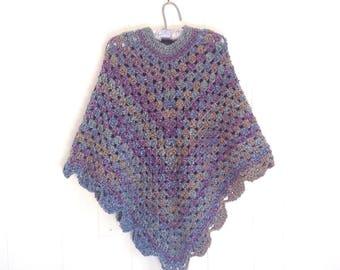 Crochet poncho - Womens shawl - Retro poncho - Crocheted shawl - Gift for women