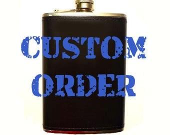 Custom Painted 8 oz. Leather Flask