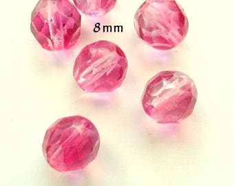 5 faceted 8mm round pink ombre