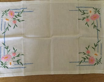 Vintage embroidered  tray cloth.