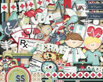 On Sale 50% Doctors Orders Digital Scrapbook Kit - Digital Scrapbooking