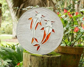 Koi Fish Goldfish Stepping Stone Made of Stained Glass and Concrete Perfect for Your Garden Patio or Back Yard Fish Pond or Pool Path #15