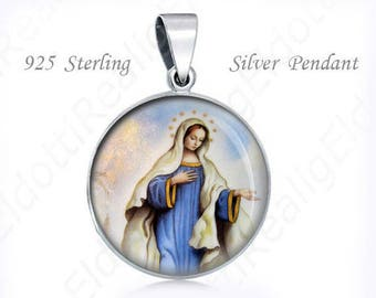 Our Mother of Medjugorje Catholic Medal. Sterling Silver 925 Christian Virgin Mary Pendant Charm