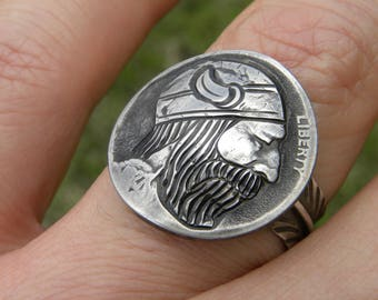 Ring 1927 Viking Beard Original Hobo Nickel Coin Art feather 925 solid sterling silver easy to adjust nice gift for biker