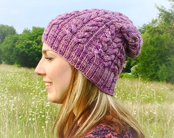 Women's slouchy winter hat - purple hand dyed wool