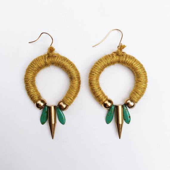 Marigold Circular Yarn + Teal Dagger Earrings