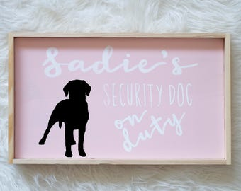 Labrador Retriever Silhouette Painted Wood Nursery Sign, Kids Room Sign, Security Dog, Guard Dog on Duty, Kids Room Decor, Dog, Baby Decor