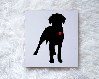 Hand Painted Labrador Retriever Silhouette on Painted Grey Wood, Dog Decor Dog Painting Gift for Dog People New Puppy Gift Housewarming Gift