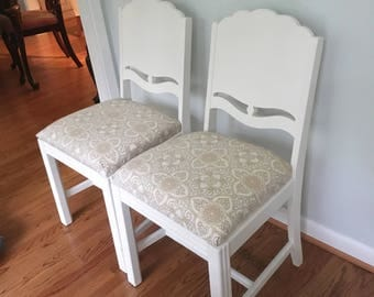 Two Dining Chairs, White Chairs