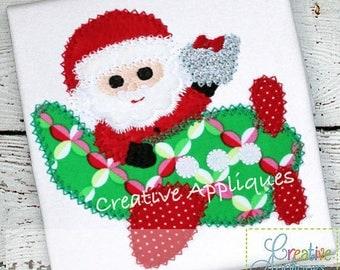 Santa Plane Applique, Santa in Airplane Shirt,  Girl XMAS Tee, Boy Christmas Shirt, Santa Applique, Boy XMAS Tee