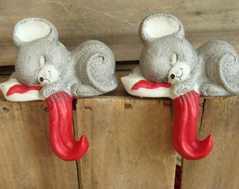 house of lloyd vintage mouse stocking holder hook pair 2 mice christmas mantel