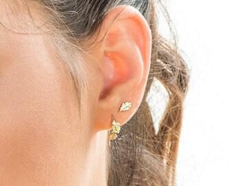 SALE15% Wedding Earrings, Post Earrings, 14K Gold Earrings, Sun Earrings, Gold Bridal Earrings, Unique Earring, Gold Stud Earrings , Art