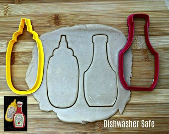 Mustard and Ketchup Bottles Cookie Cutters/Set of Two/Dishwasher Safe