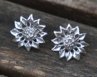 Flower Stud Earrings, Silver Flower Earrings, Silver Stud Earrings, Sterling Silver Earrings, Silver Earrings
