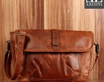 LECONI shoulder bag ladies shoulder bag leather bag lady bag Leather Brown LE3053-wax