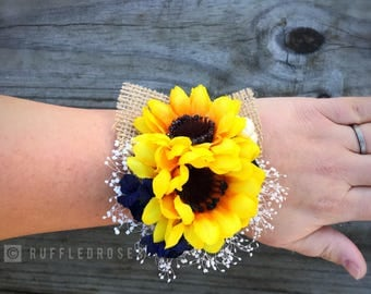 Navy Sunflower Corsage, Pin On Corsage, Wrist Corsage, Sunflower Corsage