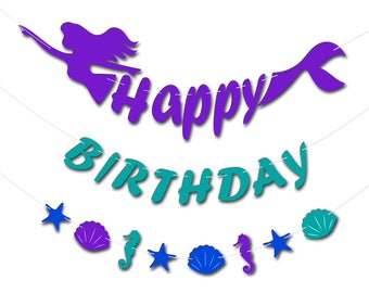 Mermaids Happy Birthday Banners Party Decoration Supplies
