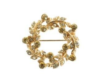 Rhinestone and Faux Pearl Wreath Pin