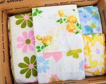SALE: Vintage Sheet Wide Hems Scrap Pack. 50 Hems. 6+ lbs. Stash Builder. Quilt Top Kit. Jelly Roll.1600 Quilt. Retro Fabric. Bundle 08