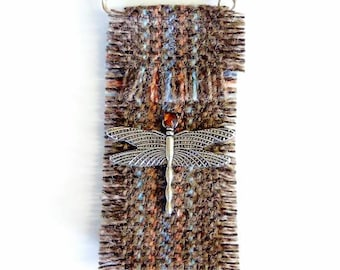 Dragonfly tweed Scottish brooch outlander jewellery old Highland Brown vintage style