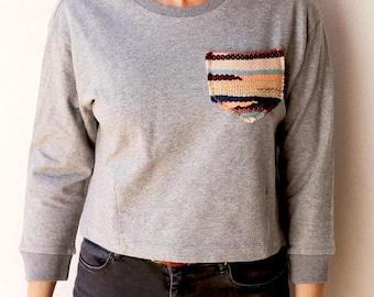 Cotton gray sweatshirt, size S
