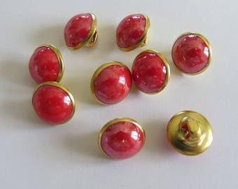 Small domed round button gold and Red dew