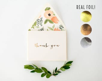 foil pressed thank you cards / wedding / bridal shower thank you cards (sets of 10)