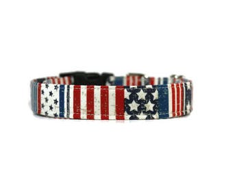 Vintage Stars And Stripes Dog Collar,  Stars and Stripes Cat Collar,  Patriotic Dog Collar,  Patriotic Cat Collar,  4th of July Dog Collar