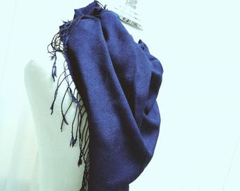 100% Silk Scarf / Natural Indigo Dyed / Twill diamond hand woven / BNP012