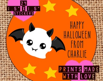 Personalised Halloween party bag stickers x24 10 designs to choose from bat ghost witch pumpkin trick or treat